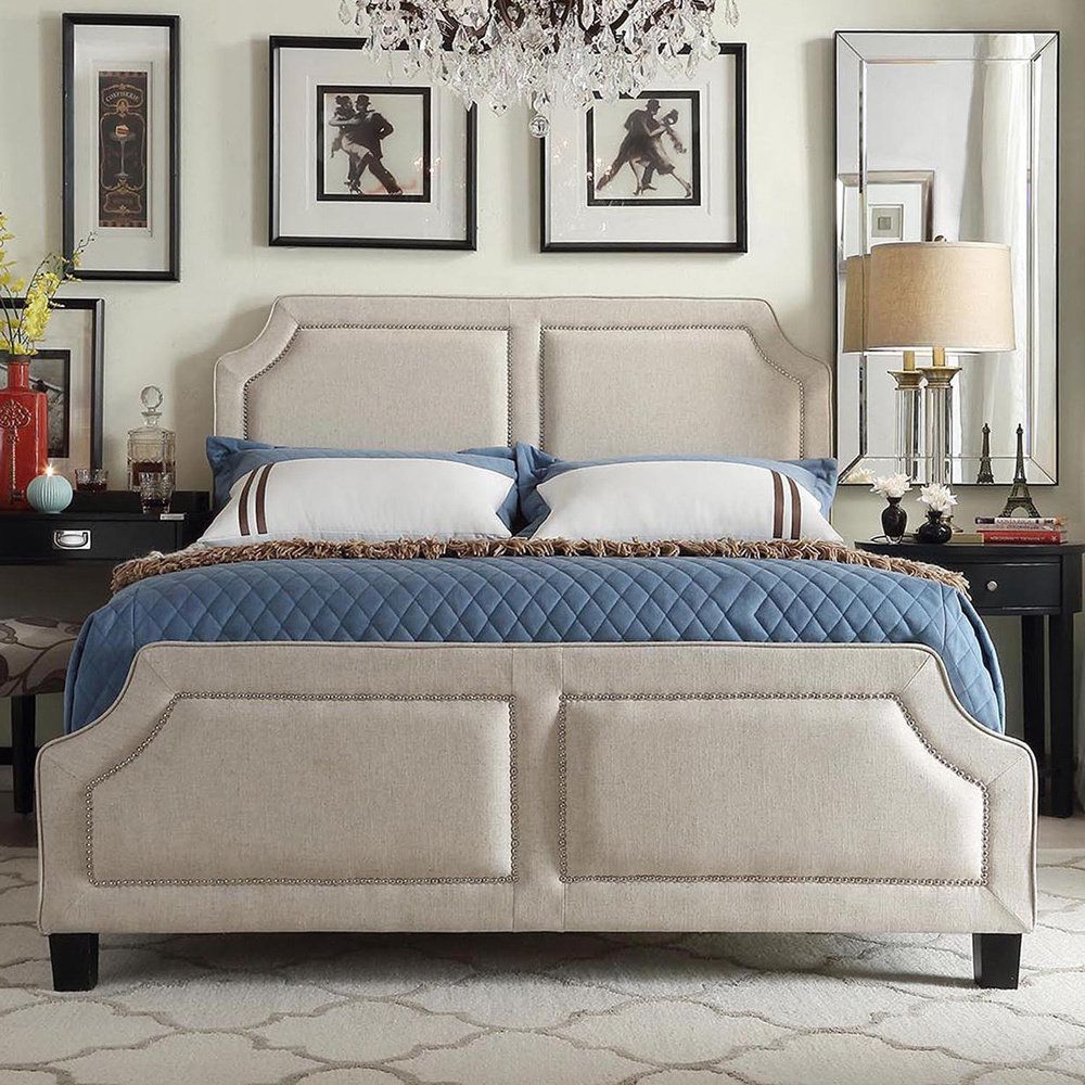 INSPIRE Q Harlow Arched Panel Nailhead Beige Linen Upholstered Full-size  Platform Bed with Footboard by iNSPIRE Q