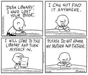 Charlie Brown lost his library book.