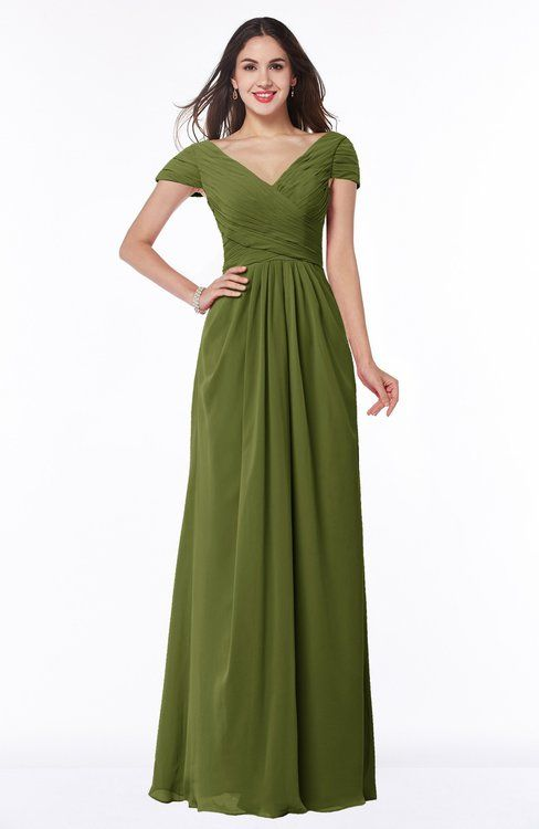 e512c5ace39 Olive Green Glamorous A-line Short Sleeve Floor Length Ruching Plus Size  Bridesmaid Dresses