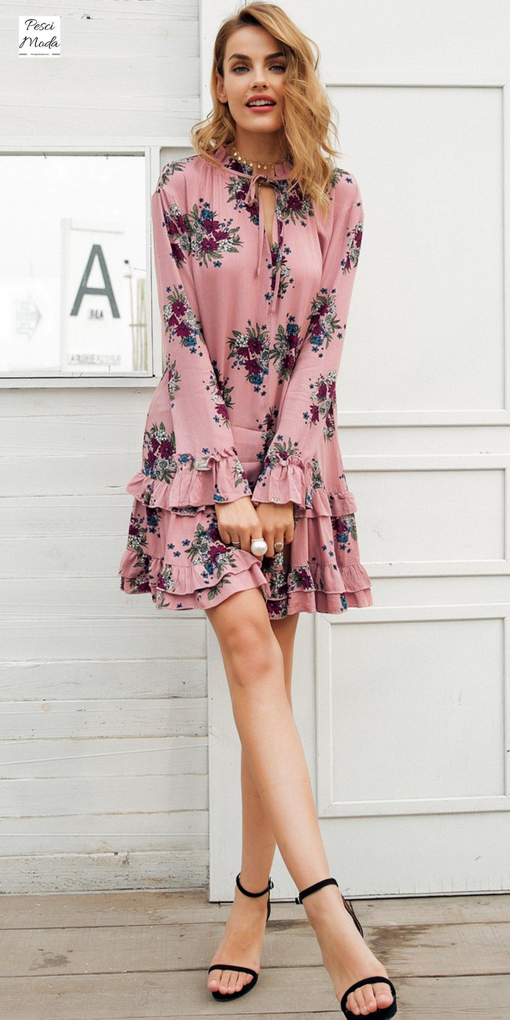 Bohemian High Neck Short Dress Boho Style Trends Pinterest