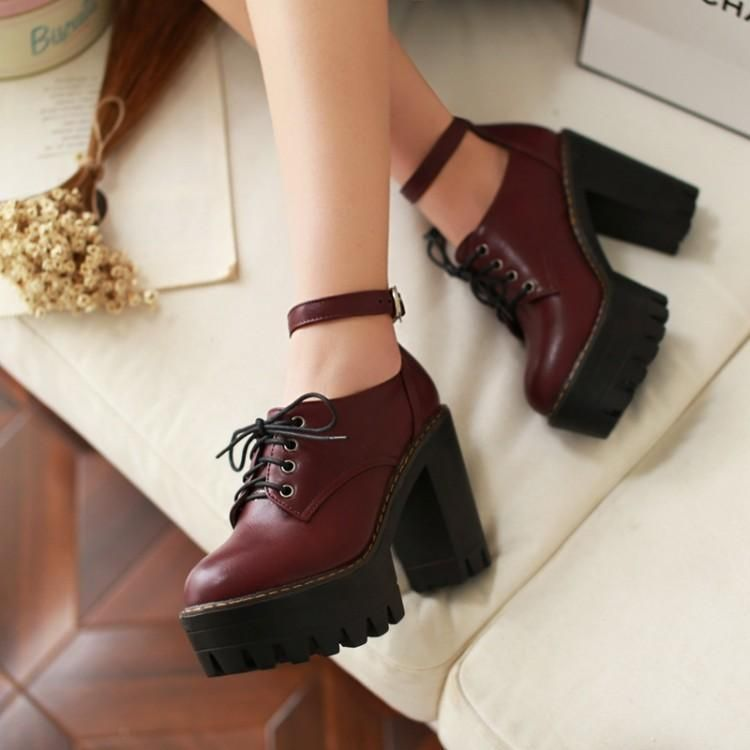 Womens Shoes Creepers Ankle Strap Lace Up Block Chunky Platform High Heels Shoes