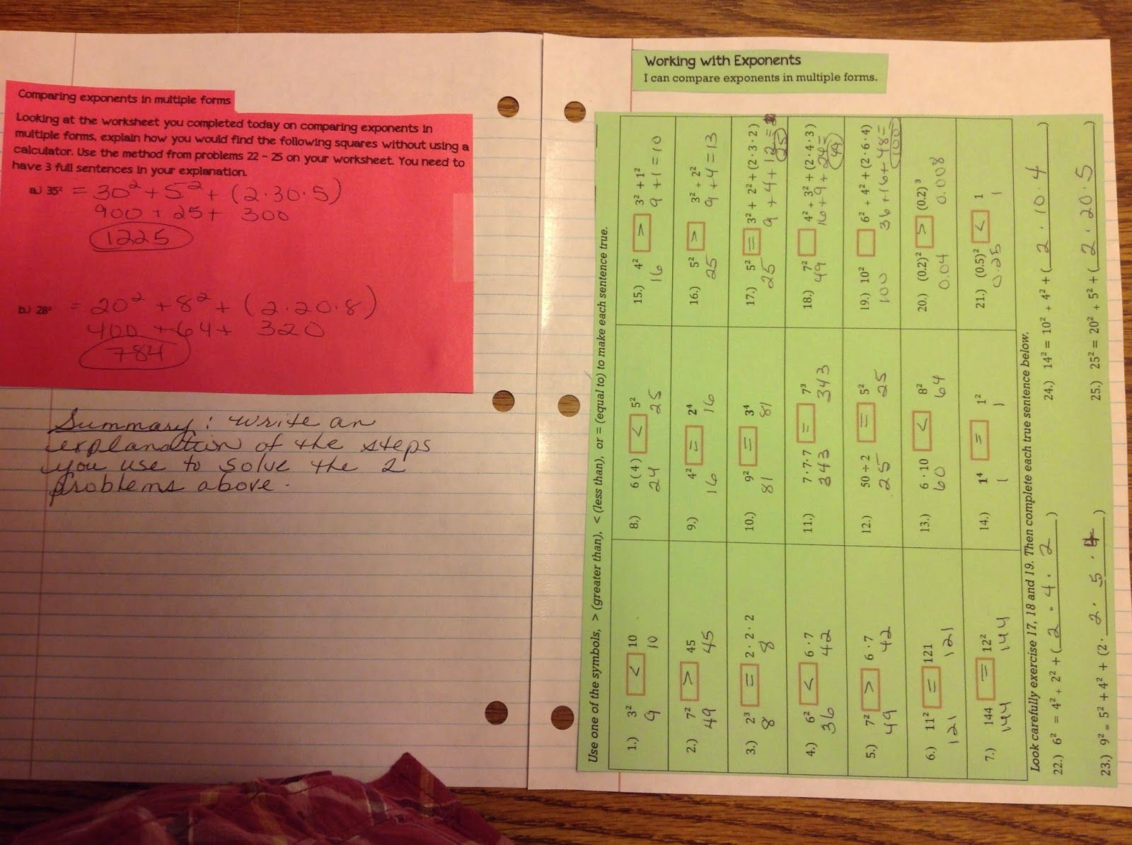 A Few More Exponent Interactive Notebook Pages