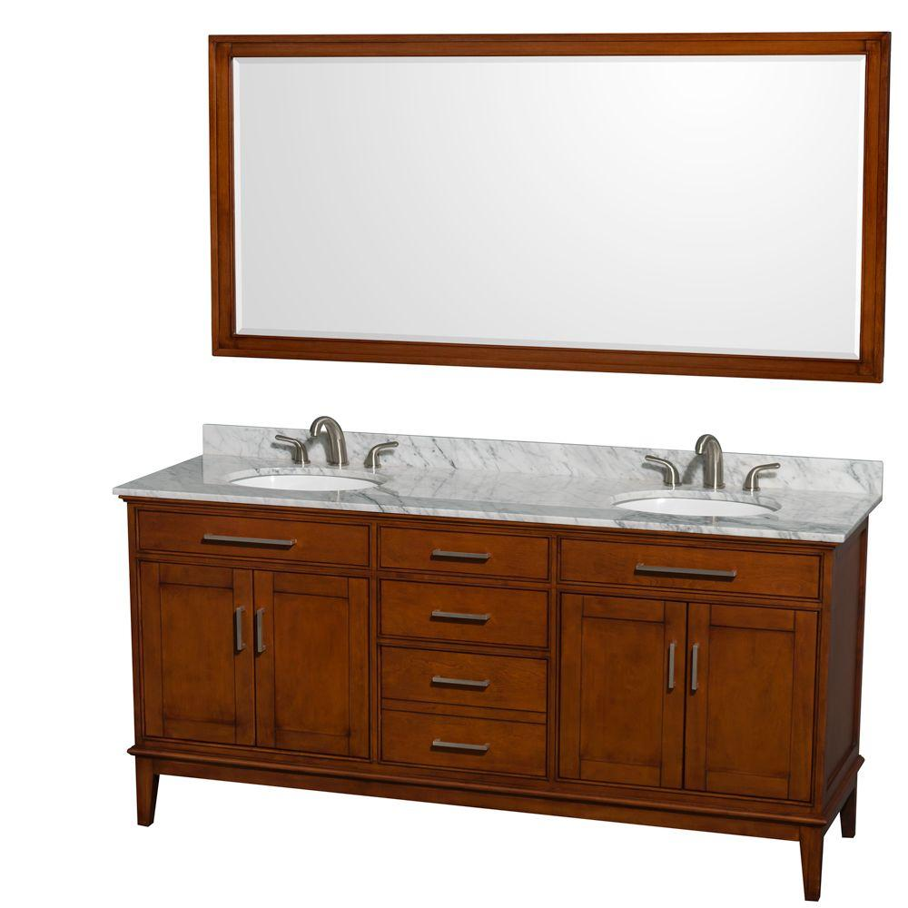 Wyndham Collection Hatton 72 in. Vanity in Light Chestnut with Marble Vanity Top in Carrara White, Sink and 70 in. Mirror
