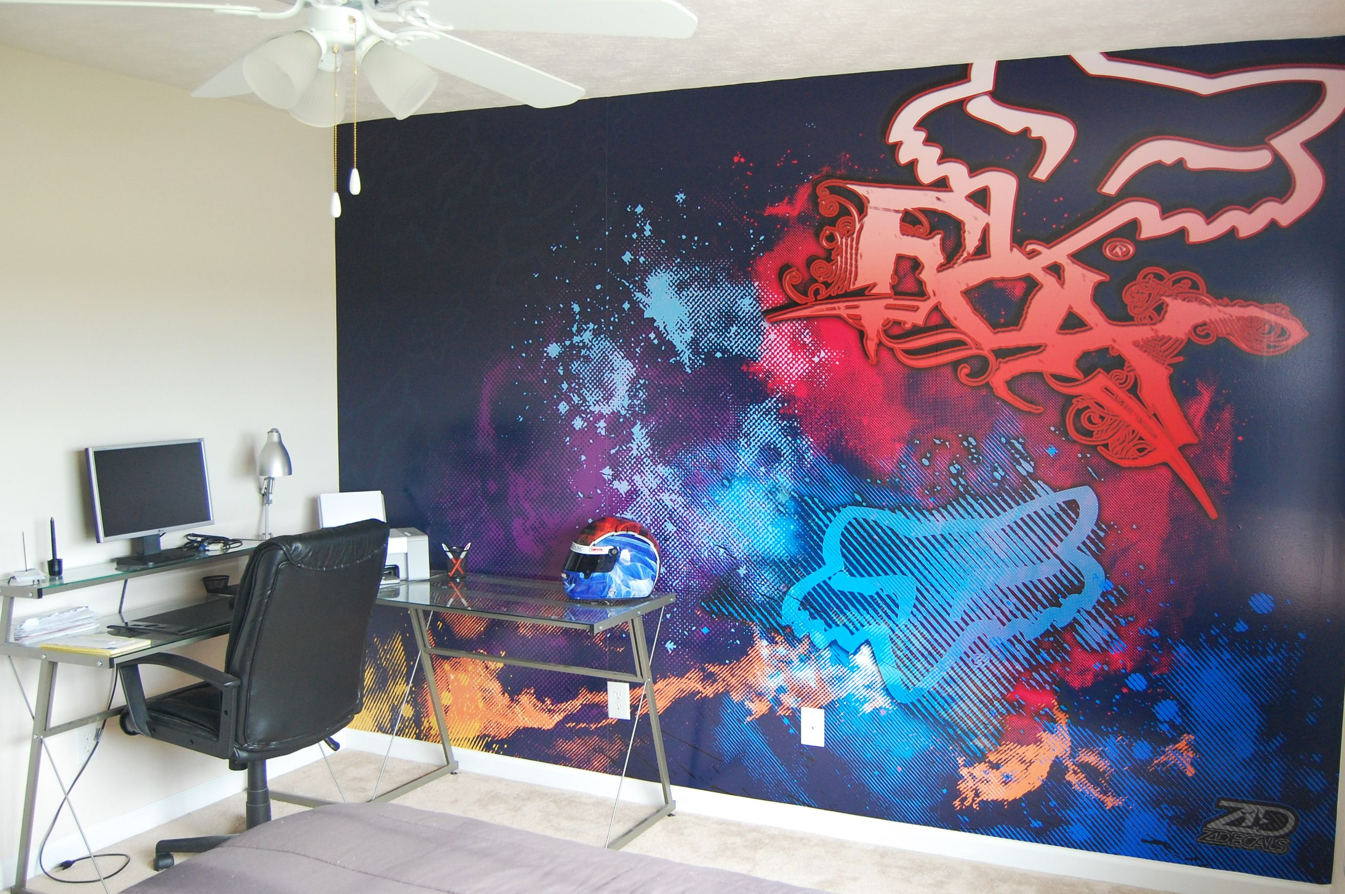 FOX RACING wall design-i love this!  Racing bedroom, Motocross
