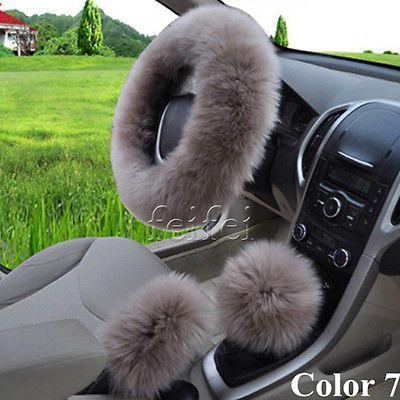 Universal Soft Wool Plush Fuzzy Auto, Car Seat Steering Wheel Covers