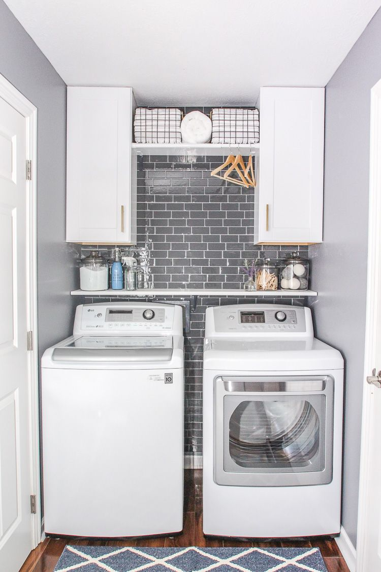 Laundry Room Refresh with Peel and Stick Backsplash Wall Tile ...