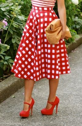 ::Checkered skirt / red mary jane pumps::