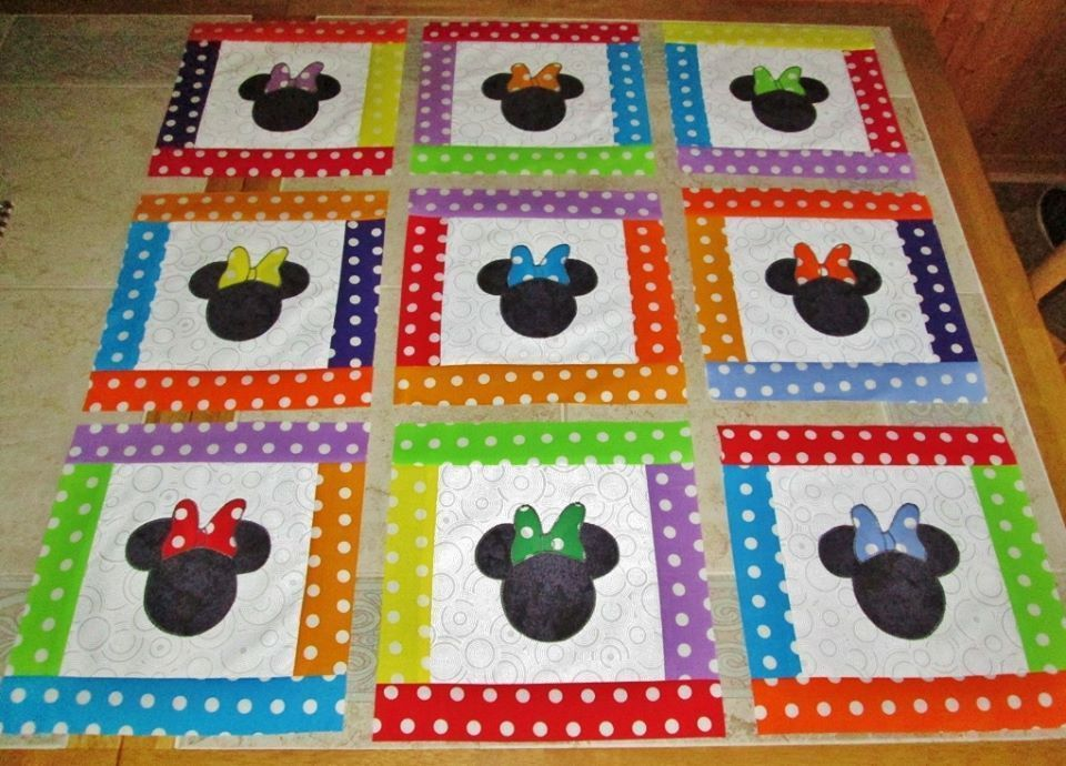 Set of 12 Pieced & Appliqued Mickey Mouse Style Quilt Blocks