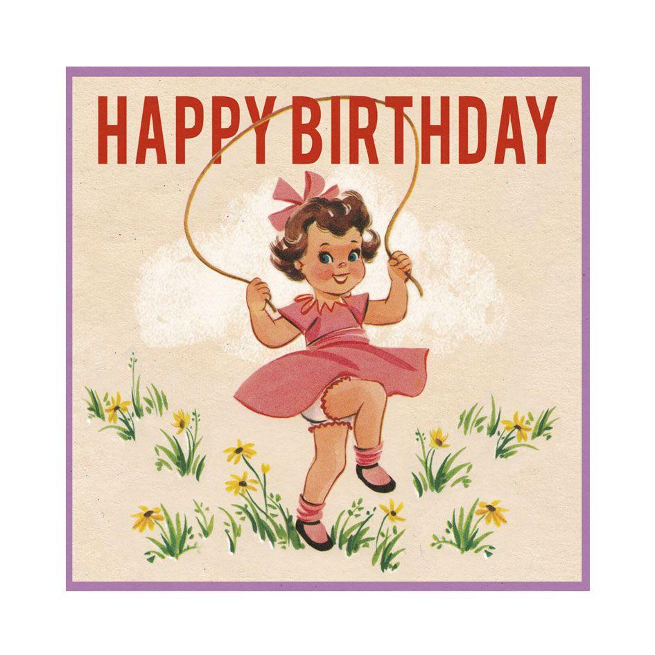 Vintage Skipping Girl Birthday Card Elfie Childrens Clothes – Vintage Birthday Cards