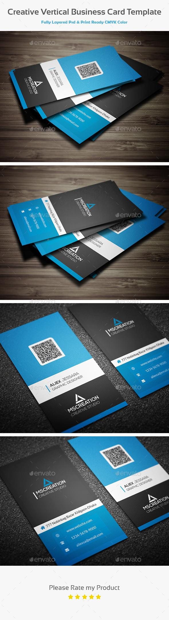 Creative Vertical Business Card Template Pinterest Vertical - Horizontal business card template