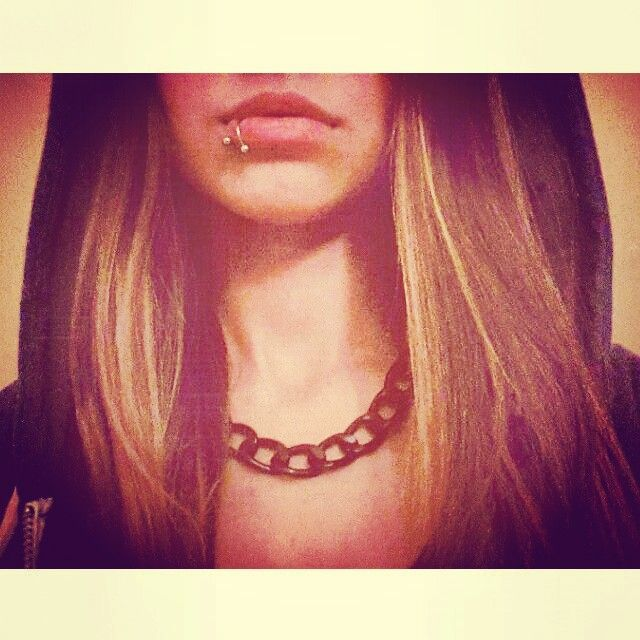 #piercing #lippiercing #girlswithpiercings #chain #necklace #spiral #titanium #me