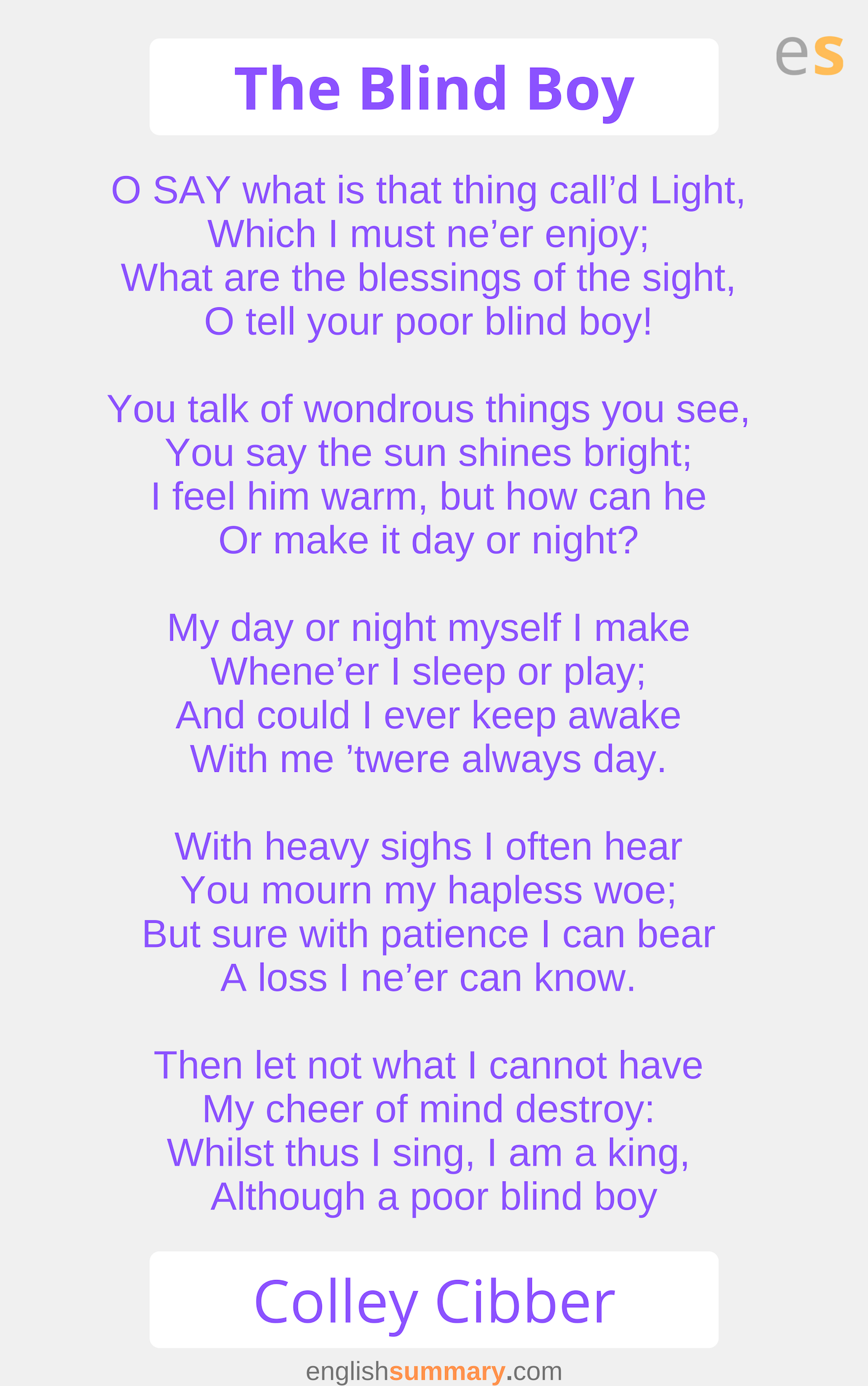 The Blind Boy Poem By Colley Cibber Poems English Words Words