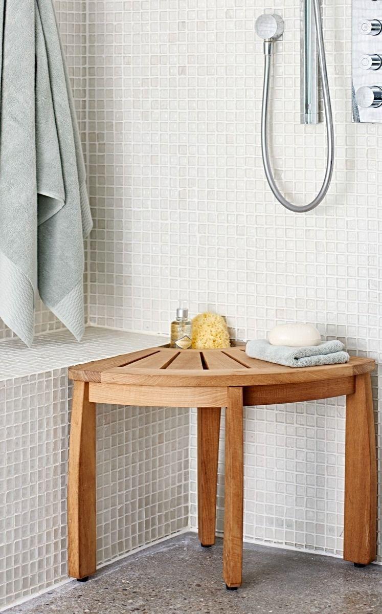 Spa Teak Corner Shower Seat with Basket | Shower seat, Teak and Corner