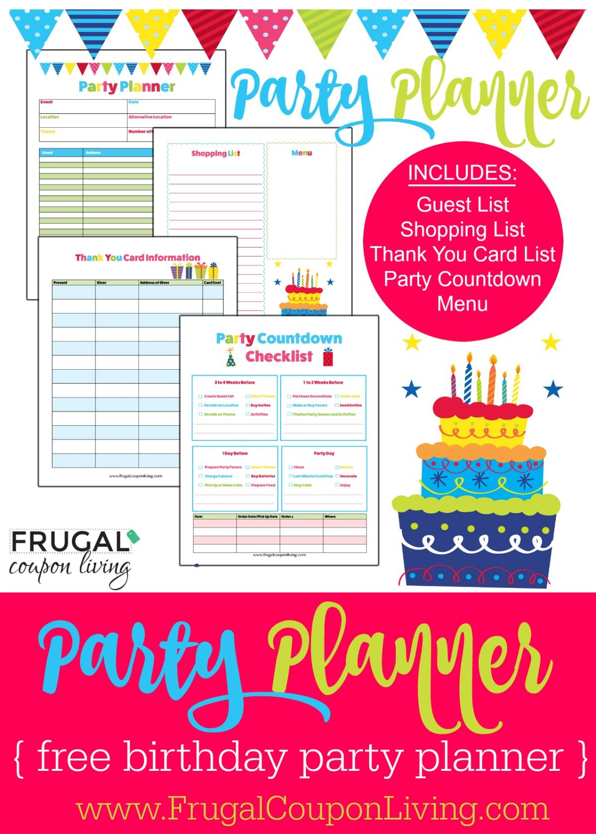 FREE Birthday Party Planner | Pinterest | Free birthday, Party ...