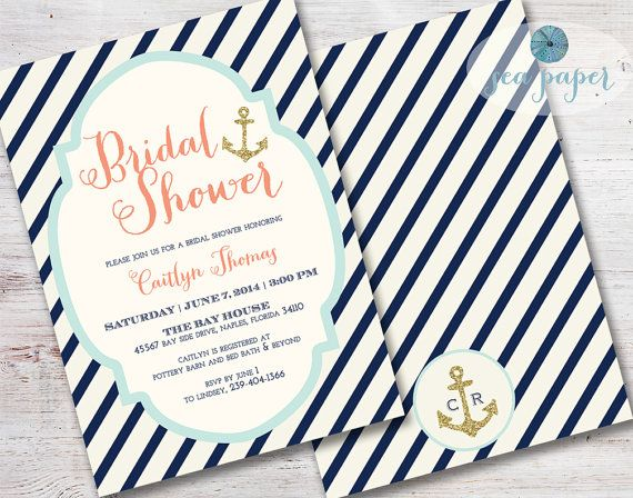 49a333b6fe01 Bay Nautical Bridal Shower Invitation Printed Invite  Navy Stripes ...