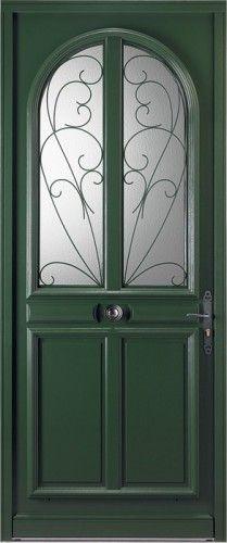 Porte bois porte entree bel 39 m classique poignee plaque rustique mi vitree double - Boite aux lettres sur porte d entree ...