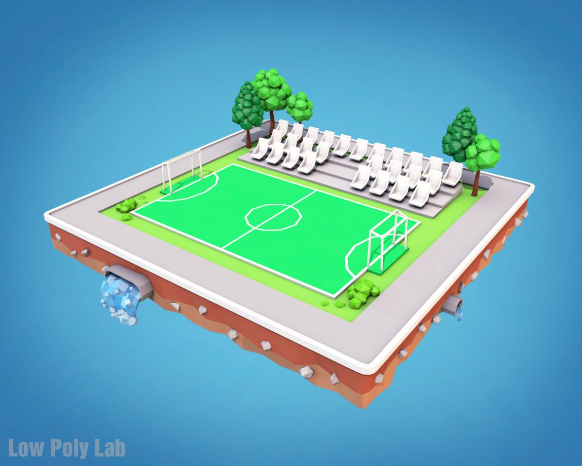 Low Poly Football Field Download 3d Model Low Poly 3d Low Poly
