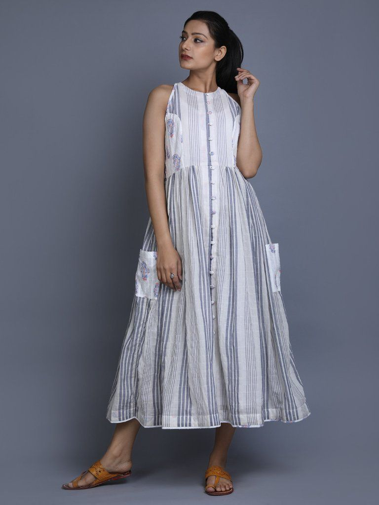 665b81d16e White Indigo Cotton Summer Dress | Trends I love in 2019 | White ...