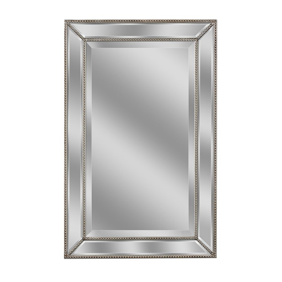 Allen roth 20 in x 32 in silver beveled rectangle framed for Bathroom wall mirrors