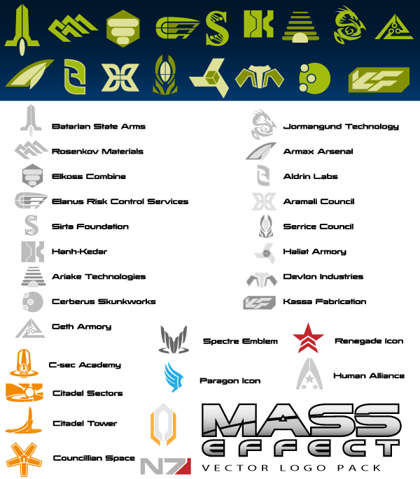 Mass Effect Logo Vector Illustrator Pack Mass Effect Pinterest