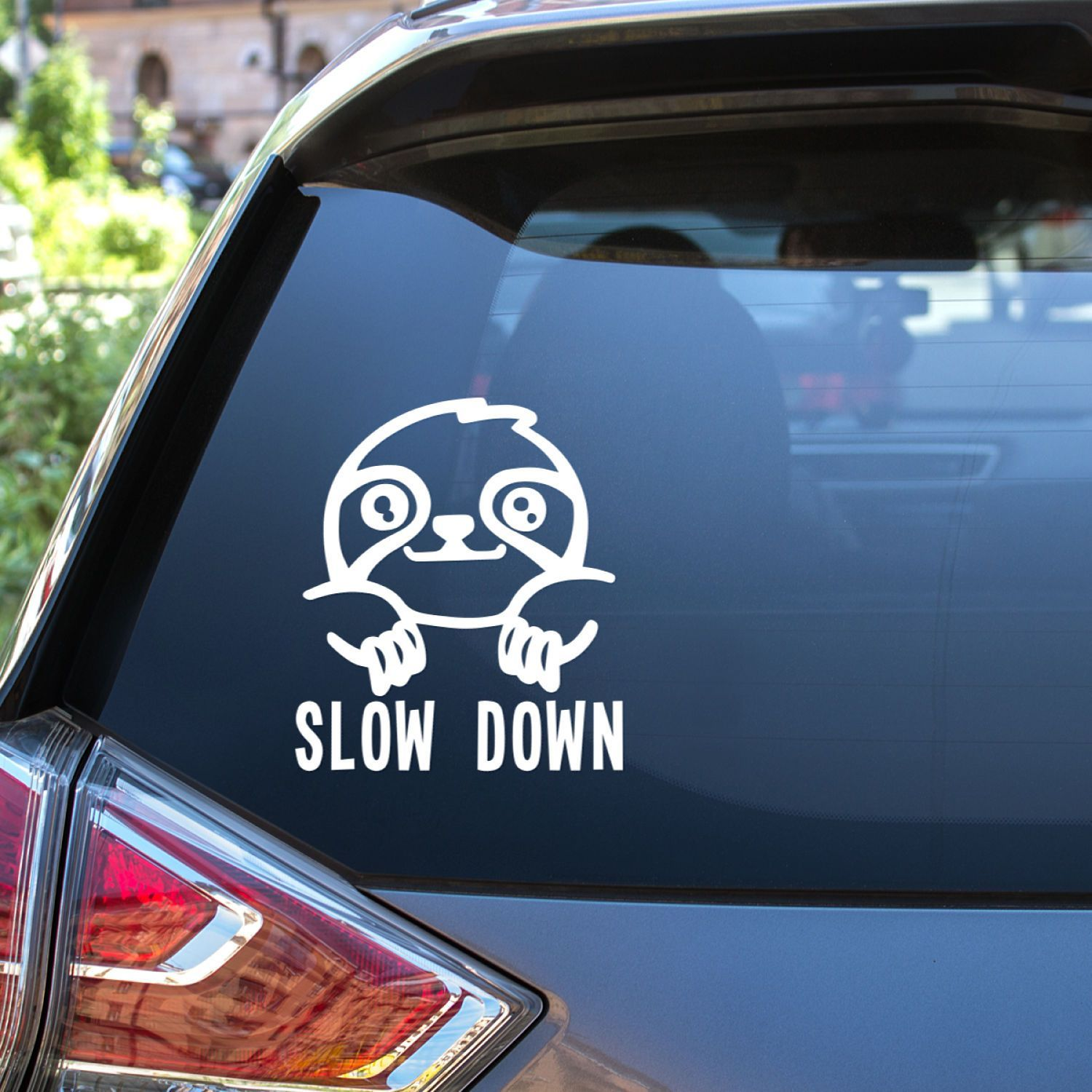 This cute decal is perfect for sloth lovers keep the slow down text