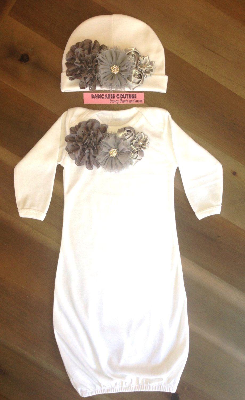 Newborn Girl Take Home White and Gray Layette Sleeper Gown & Beanie ...