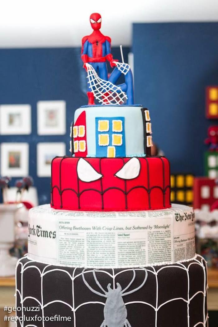 Spiderman Themed Birthday Party Idea Decor Planning Cake Idea