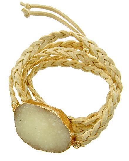 Gold Tone / Braide Ivory Suede & Druzy Acrylic / Lead&nickel Compliant / Wrap Bracelet