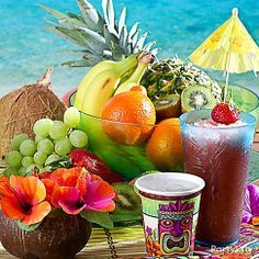 Create the ultimate tropical experience with a  bright bowl of fruit! The perfect island style centerpiece to match your luau plates!