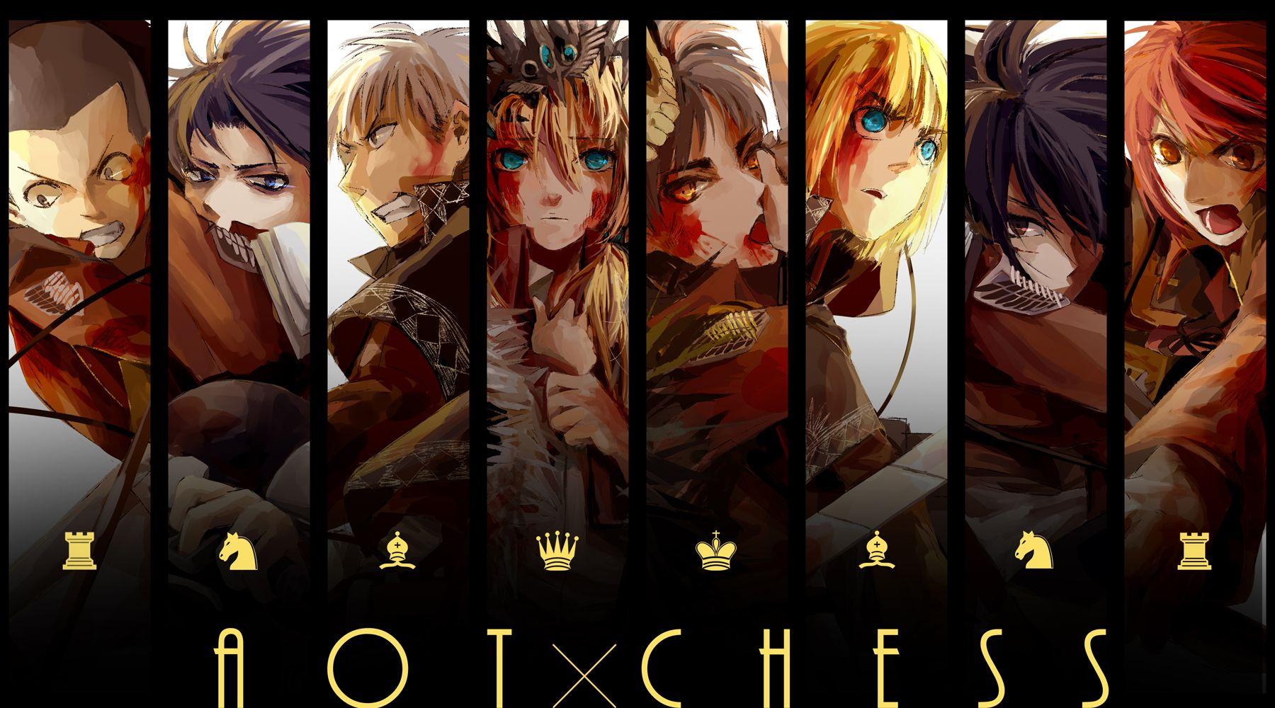 Attack on Titan - Conny, Rivaille, Jean, Christa, Erin, Armin, Mikasa, and Sasha
