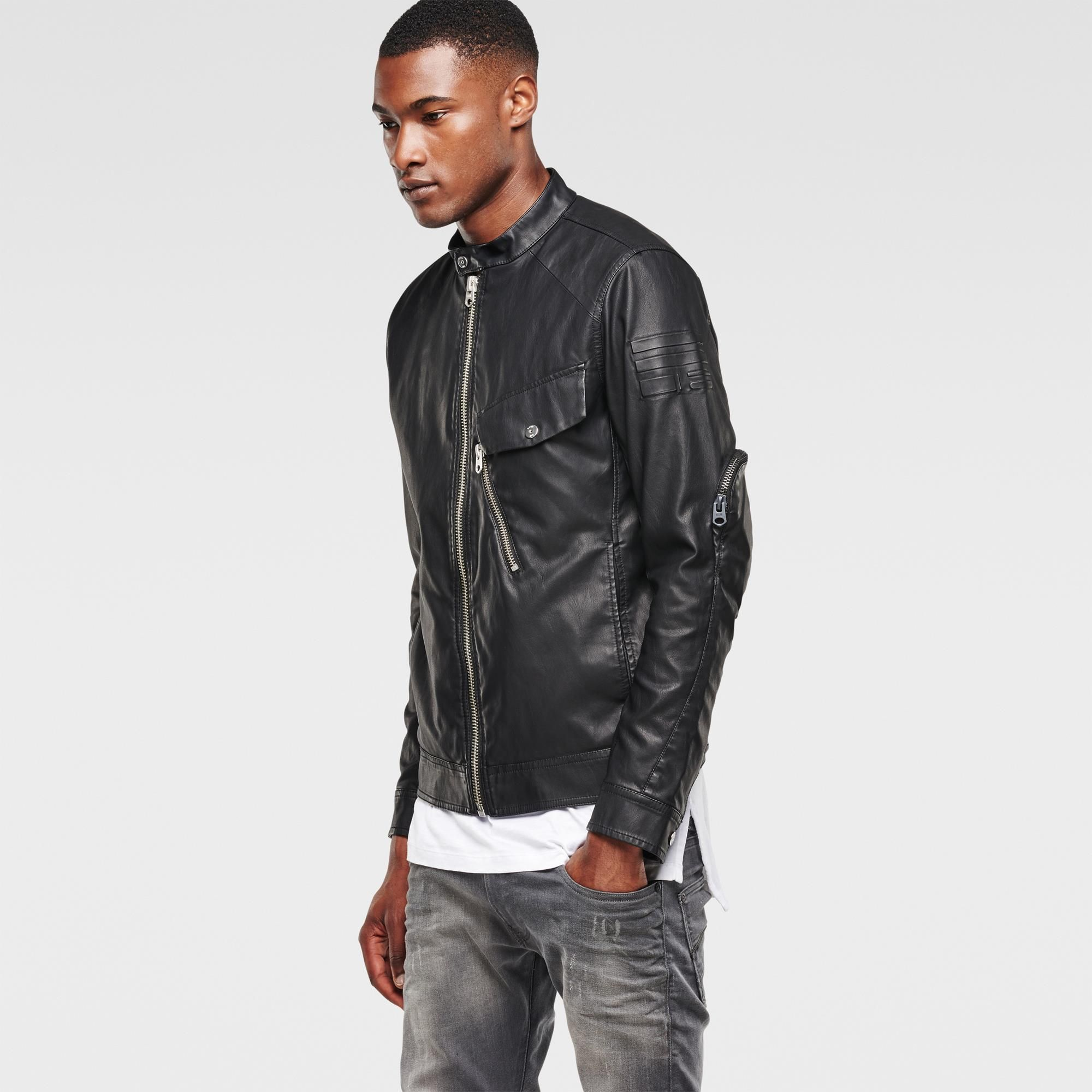 Revend 3d Slim Faux Leather Jacket Black G Star Raw Black Faux Leather Jacket Faux Leather Jackets Leather Jacket [ 2000 x 2000 Pixel ]