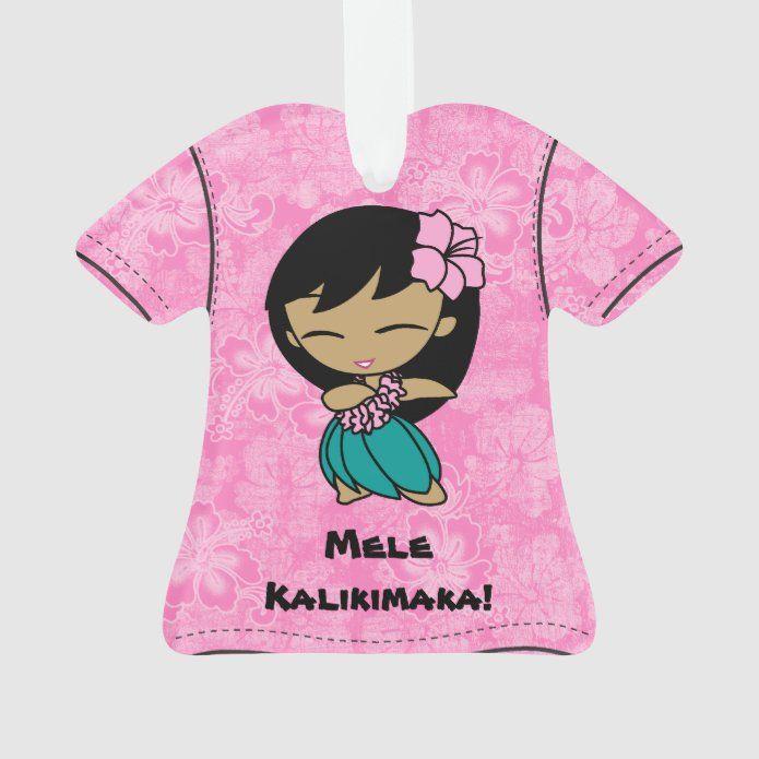 Aloha Honeys Mele Kalikimaka Hawaiian Aloha Shirt Ornament - tap/click to get yours right now! #Ornament #aloha #honeys #hula #girl #hawaii