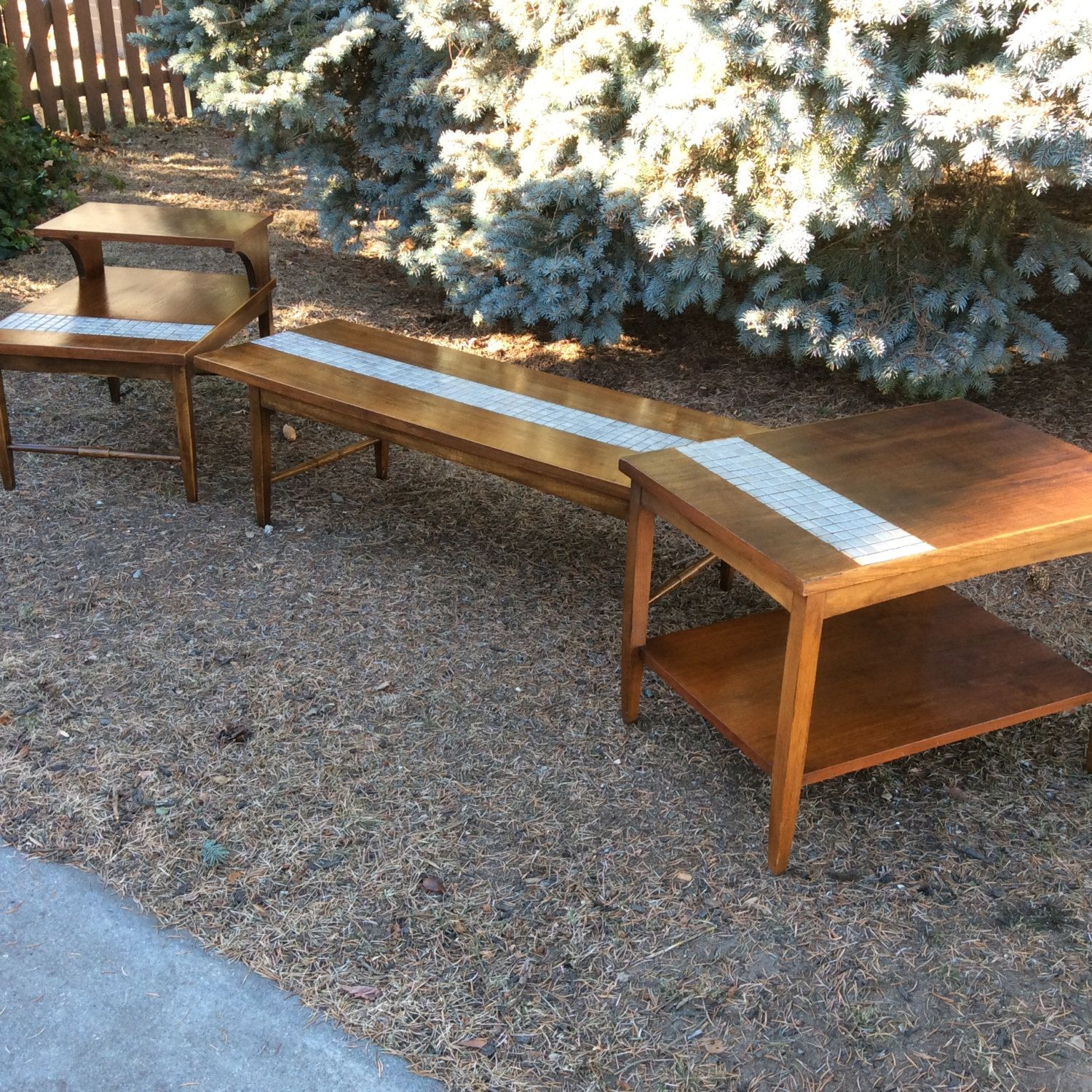 Mid Century Coffee Table And End Tables Lane Tile Furniture By Daretobevintage On Etsy