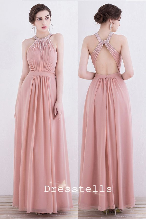 A-Line Round Neck Pearl Pink Chiffon Open Back Prom Dress with ...
