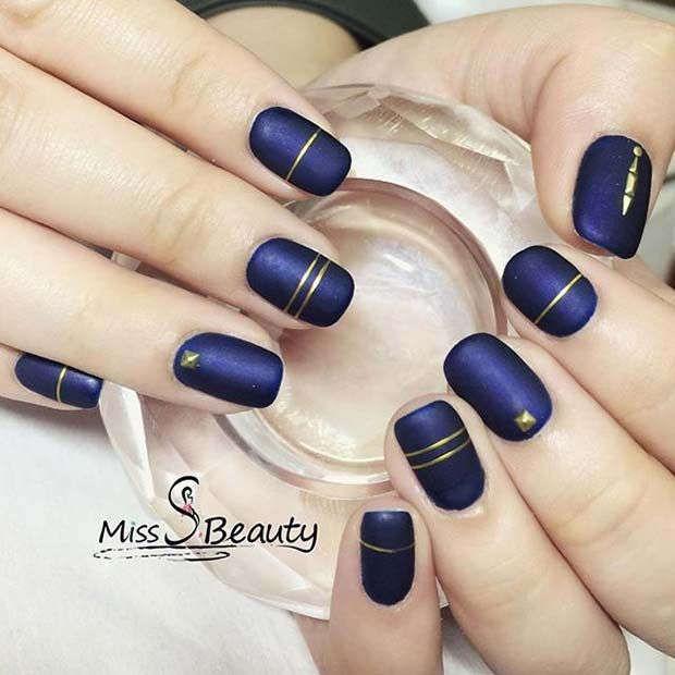 12 Must Have Matte Nail Designs for Fall: #12. NAVY AND GOLD MATTE ...