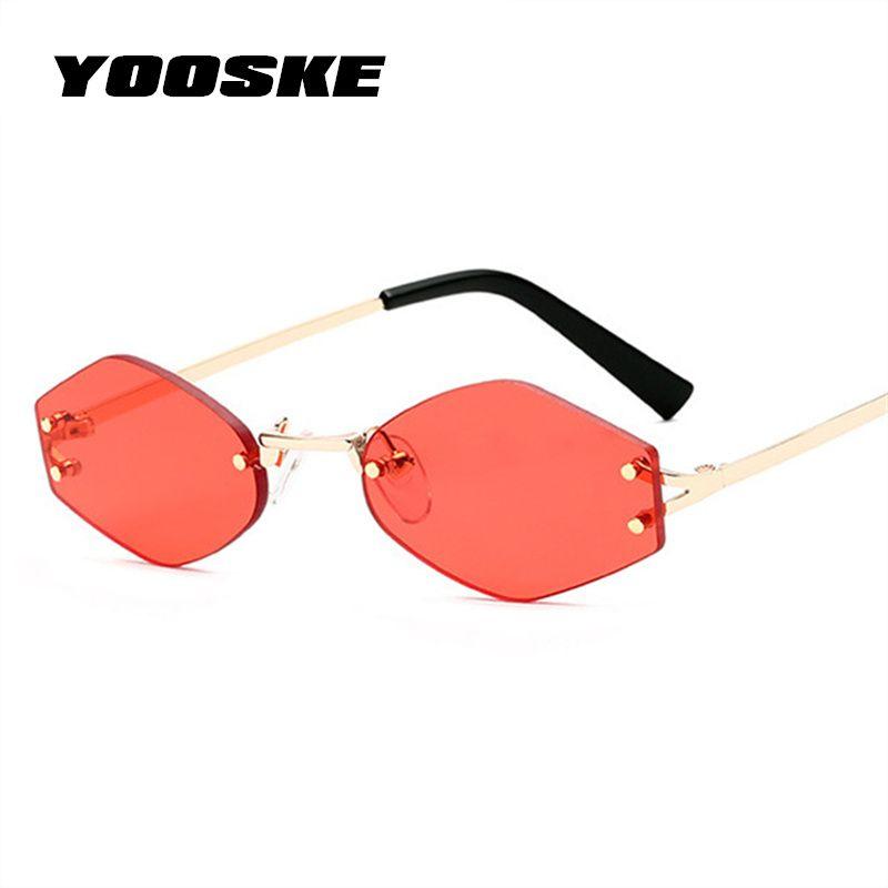 198660f917 YOOSKE Small Hexagon Sunglasses Women Brand Designer Vintage Cat eye Sun  Glasses Retro Rimless Red Black Eyewear Ladies Glasses