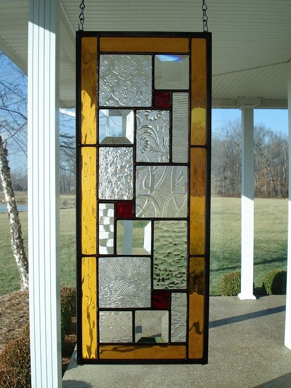 Stained Glass Window Panel With Ambers Reds By Theglassshire Stained Glass Door Stained Glass Stained Glass Windows