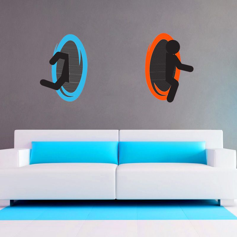Deals Portal Decal Or RePositionable Wall Cling Set SHIPS - Portal 2 wall decals