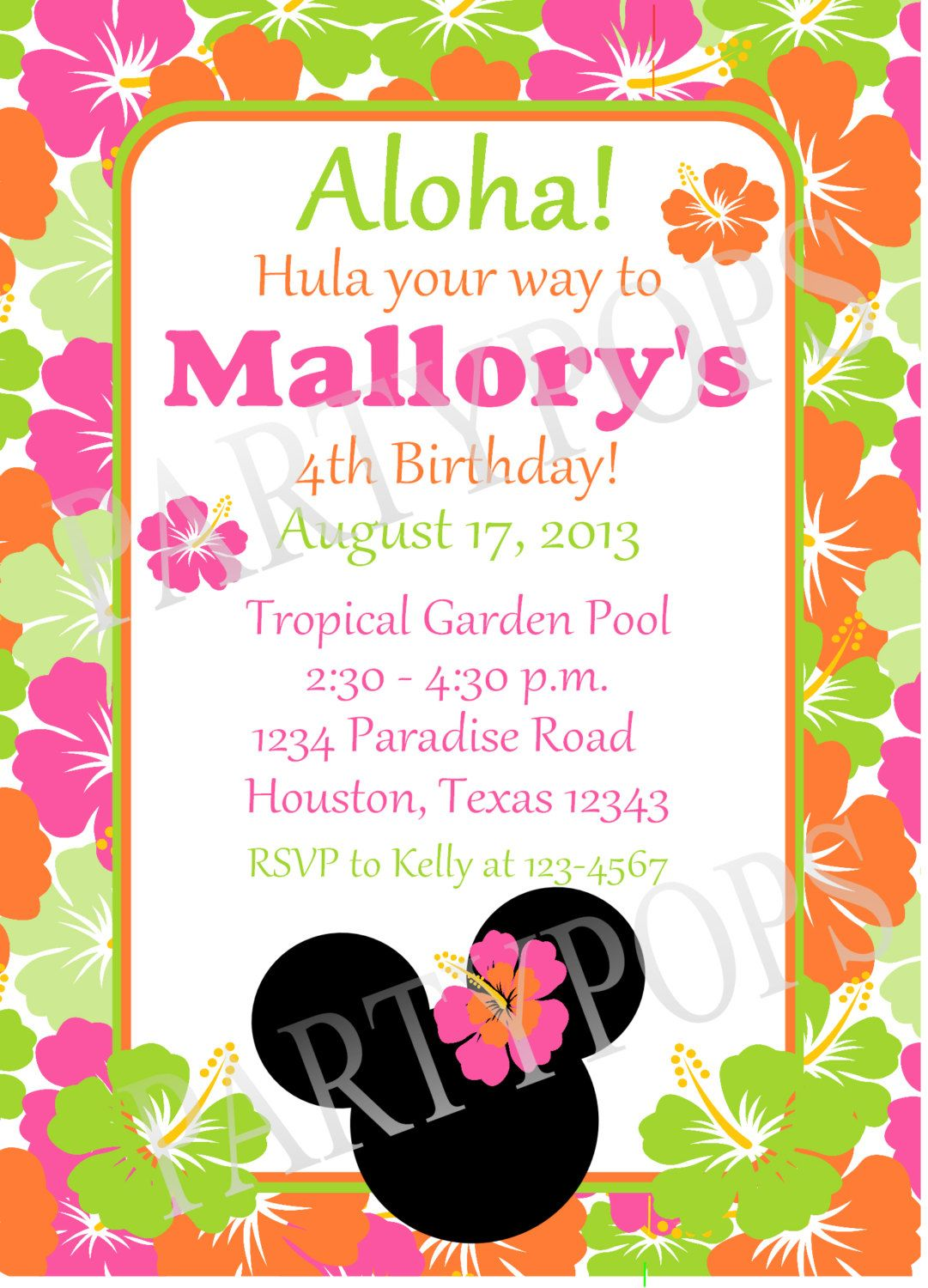 Printable Minnie Mouse Luau Invitation Thank You Card By PartyPops 1500