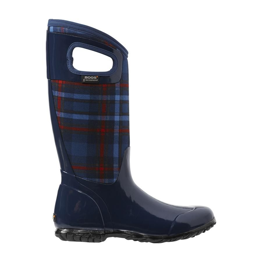 Authentic Store Bogs Women's North Hampton Plaid Womens Dark Blue Multi Bogs Womens Boots