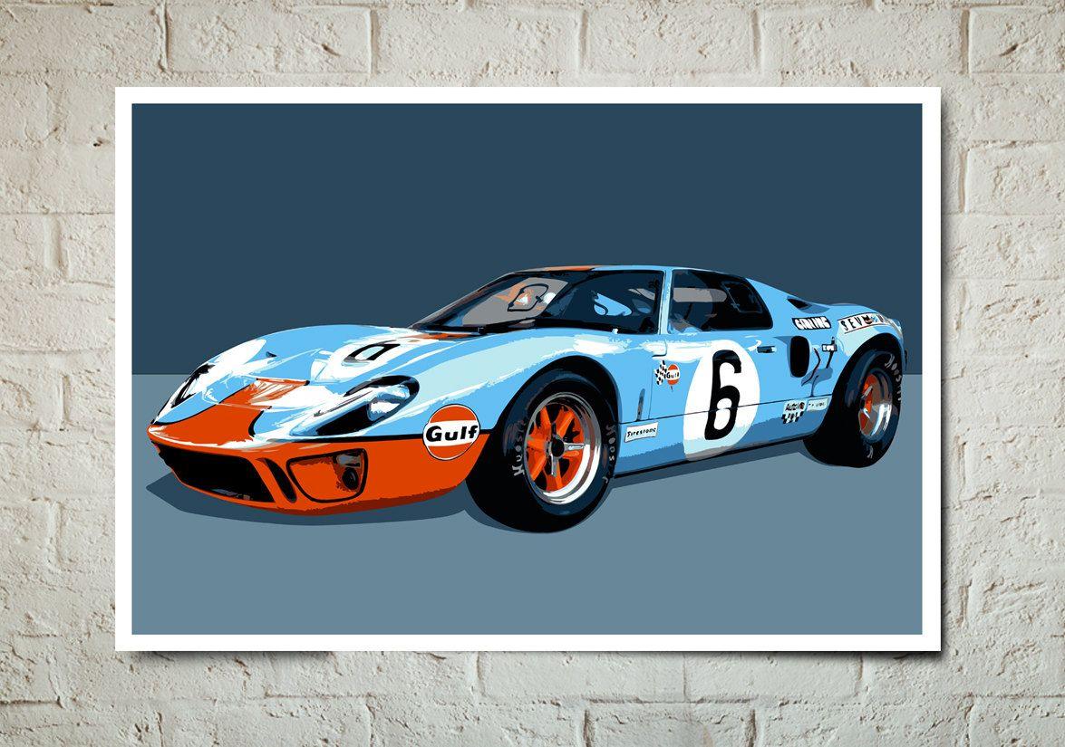 Ford GT Vintage Auto Race Car Art Print By MediaGraffitiStudio