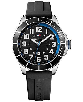 Tommy Hilfiger Men's Black Silicone Strap Watch 48mm