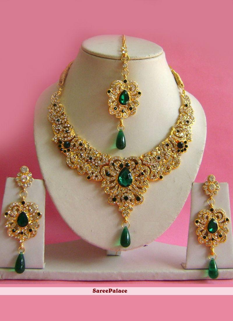 Stone work necklace set in multi colour necklace set pinterest