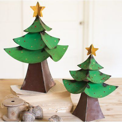 wayfair 2 piece painted iron christmas tree set