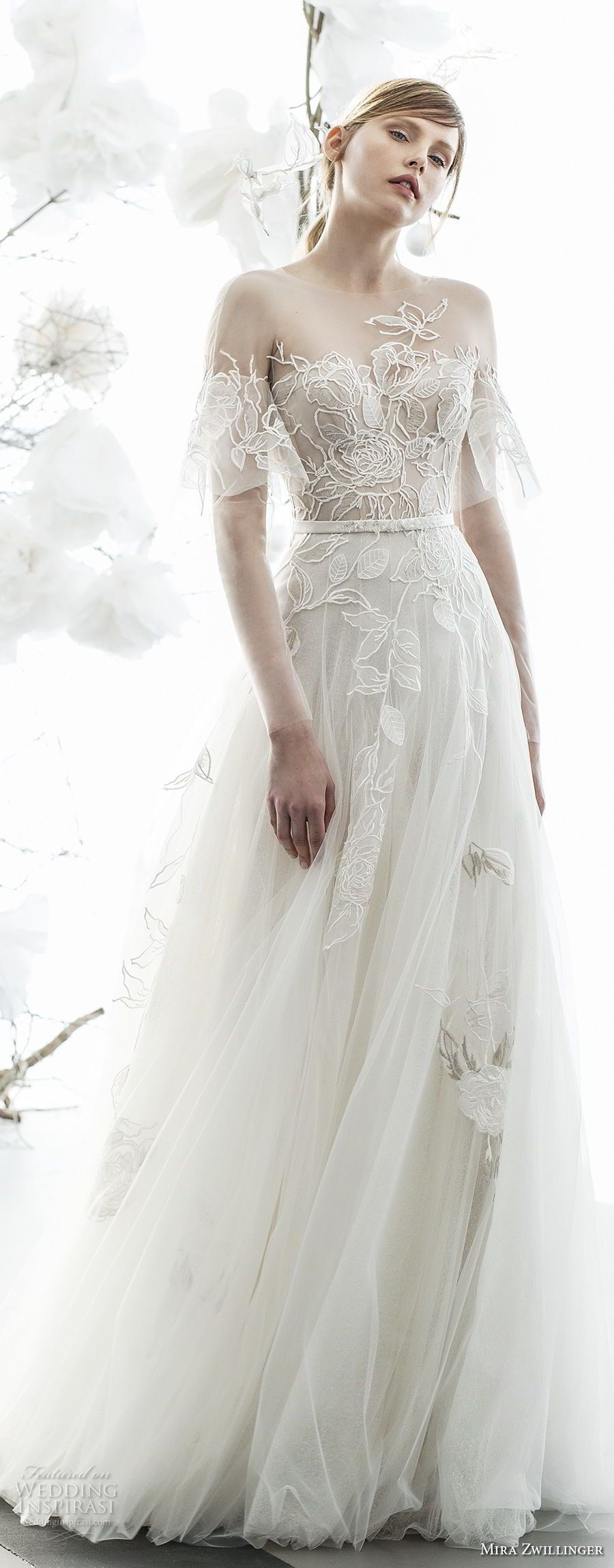 Mira zwillinger bridal long sleeves illusion bateau sweetheart