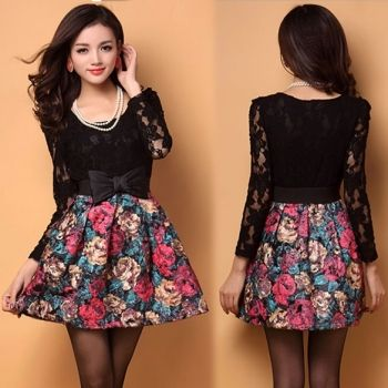 New Fashion Elegant Women's Ladies Painting Flowers Pattern Lace Splicing Dress With Belt