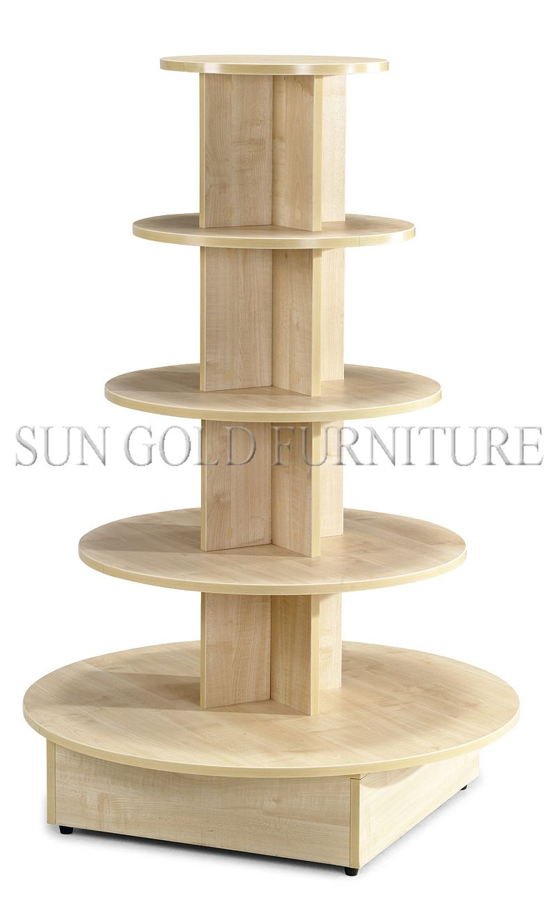 5 tiered round wooden display stand display table sz for Table top display ideas