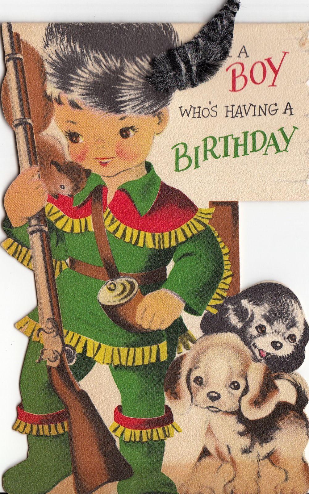 Vintage Greeting Card Davy Crockett Children Boy Puppy Dog I944   eBay