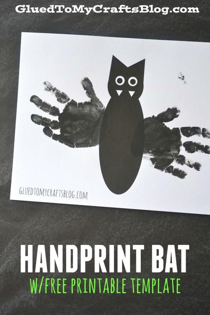 handprint bat w free printable template kids handprint footprint