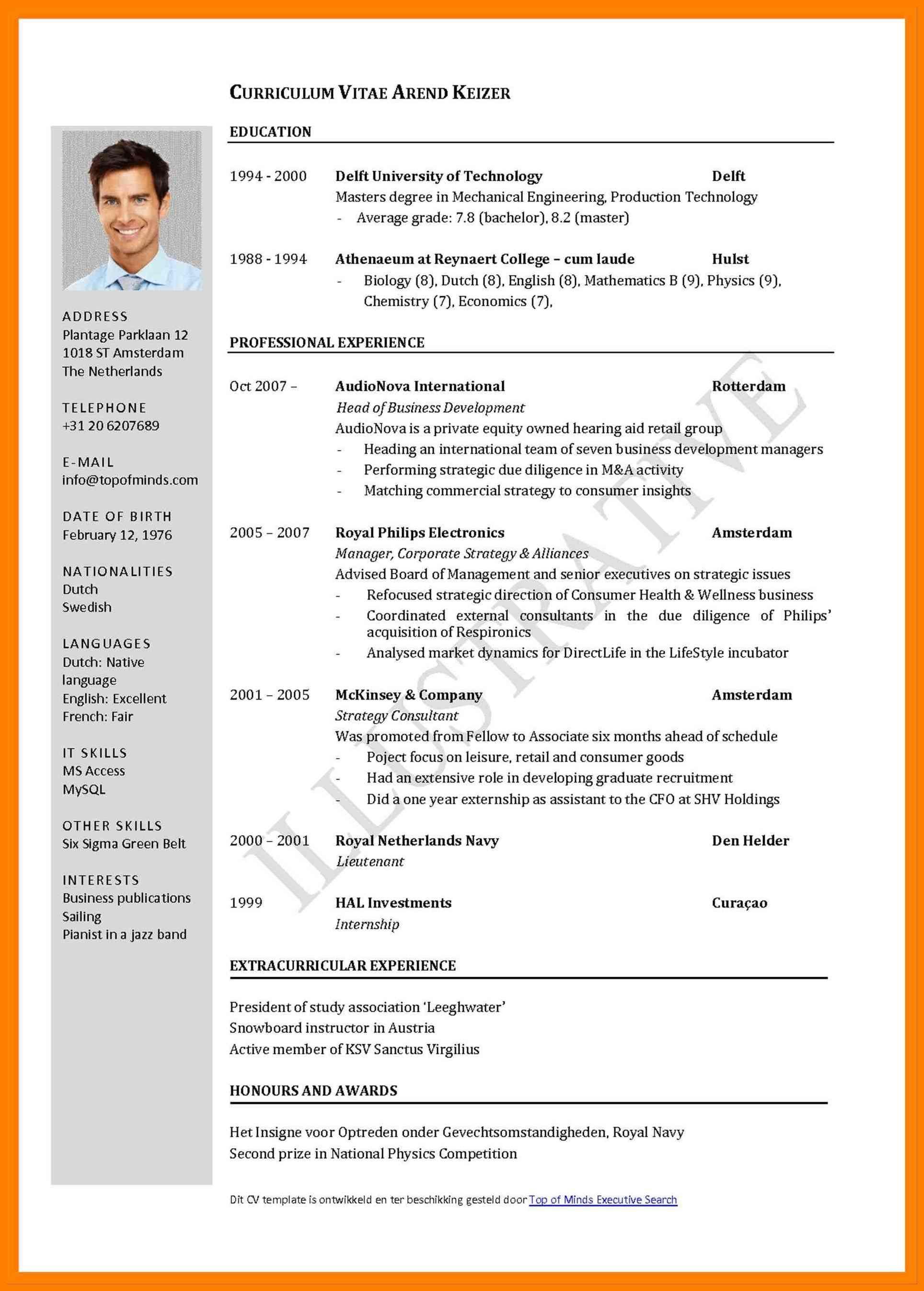 Cv Template Bangladesh Cv Format Sample Sample Resume Format